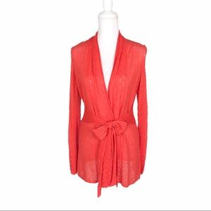 Anthropologie Knitted Knotted coral tie cardigan S